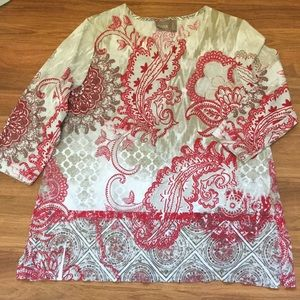 Chico's Tunic Sz 2/Lg red and taupe